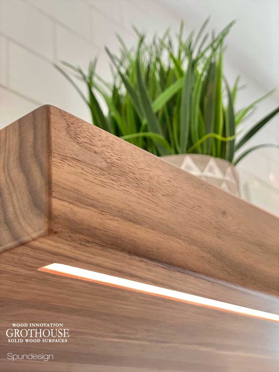 Custom Walnut Floating Shelves with Integrated LED Lighting in Nazareth, Pennsylvania