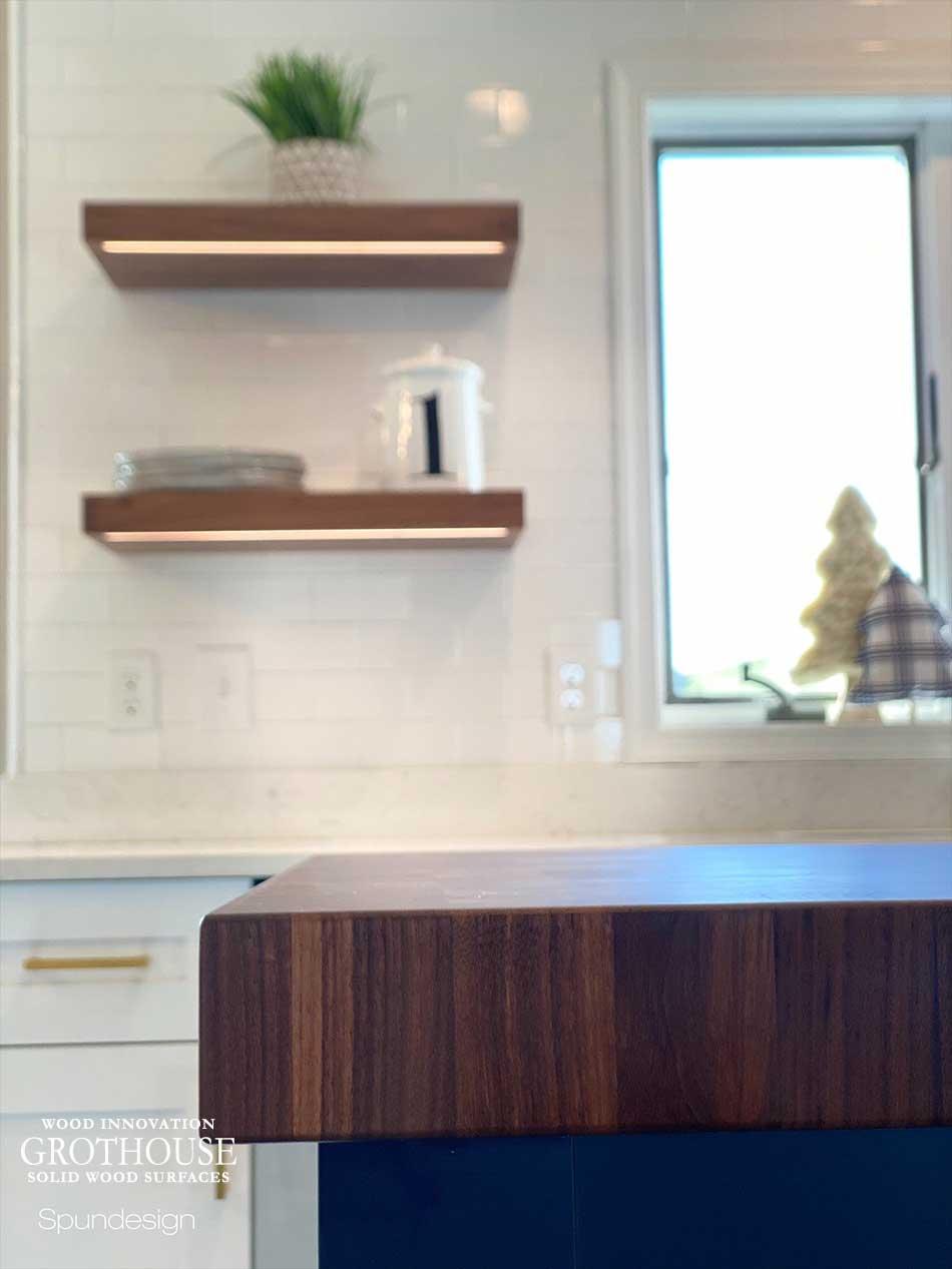 Custom Walnut Wood Butcher Block and Matching Walnut Wood Floating Shelves