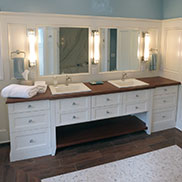 Matching Sapele Mahogany Vanity Top and Shelf in Mendon, New York