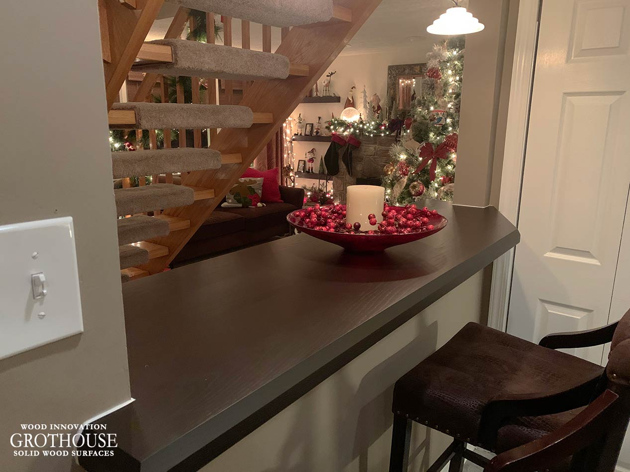 Stained Ash Bar Top designed to mimic Wenge Wood