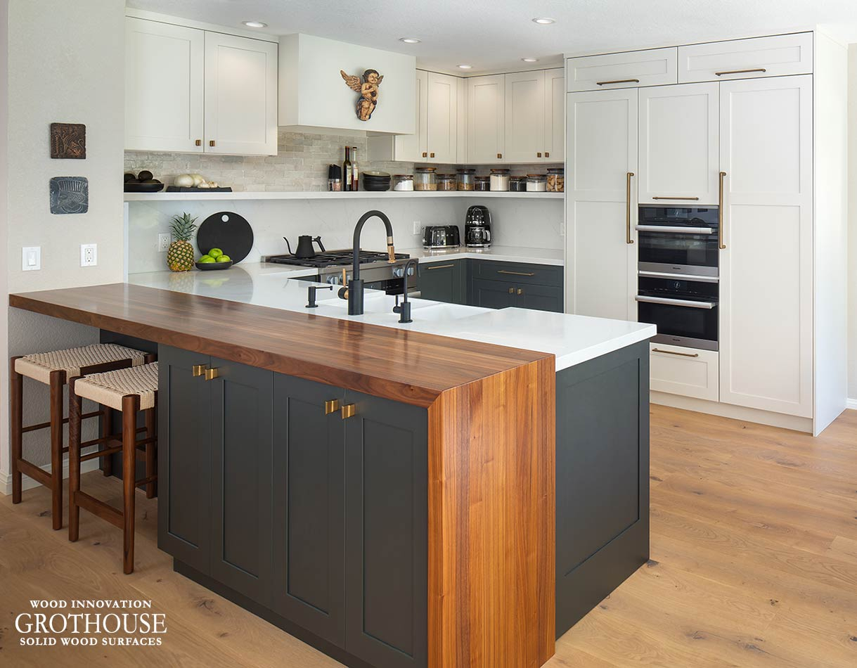 Walnut Half Pastore Kitchen Bar Top in Rancho Peñasquitos, California