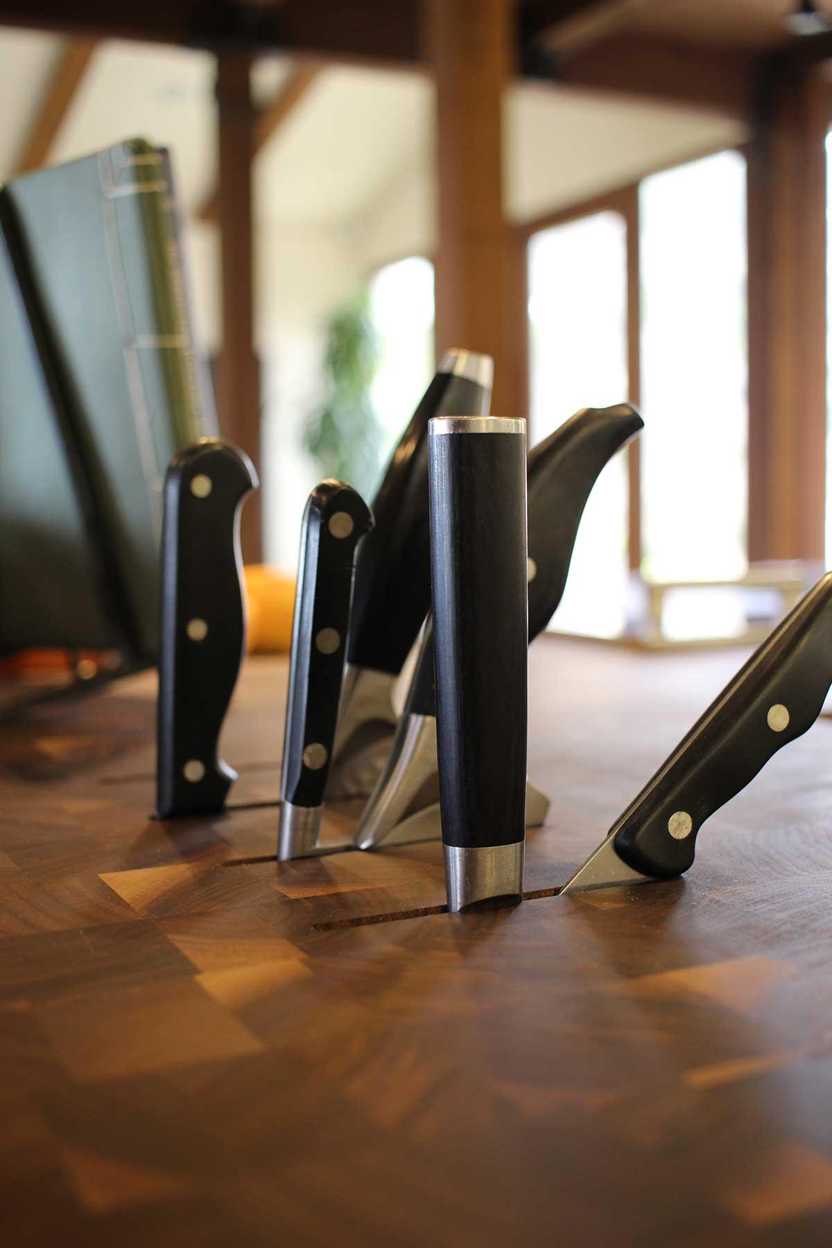 Custom Wood Butcher Block Countertops with Knife Slots