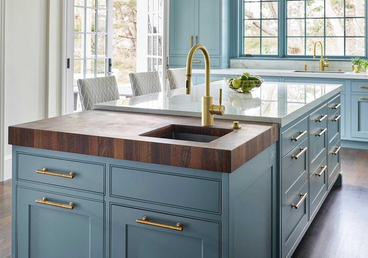 Custom Wood Butcher Block Countertops with Undermount Sinks