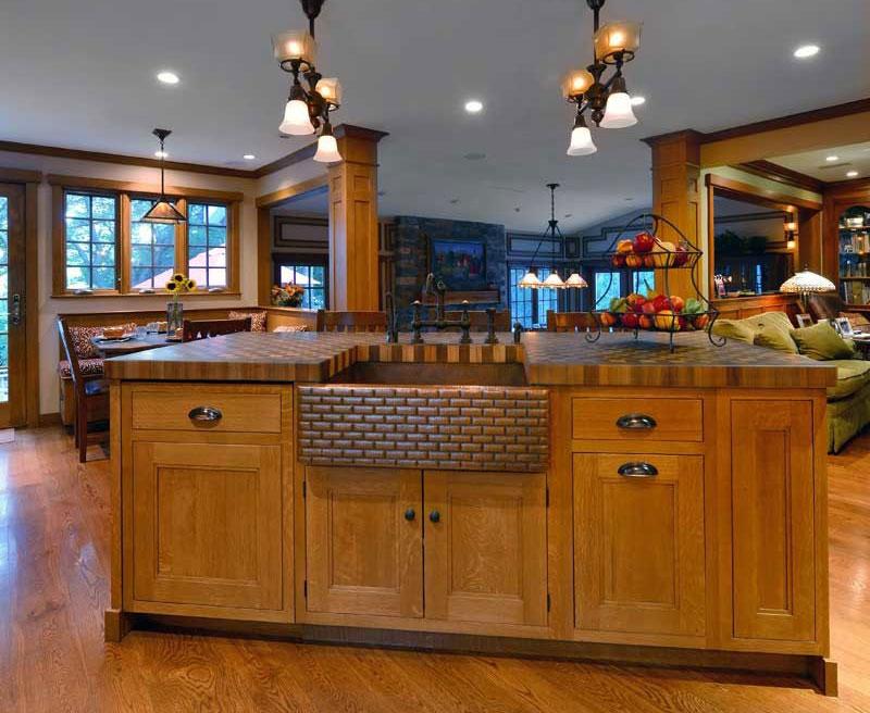 Custom Wood Butcher Block Countertops with Apron Sinks