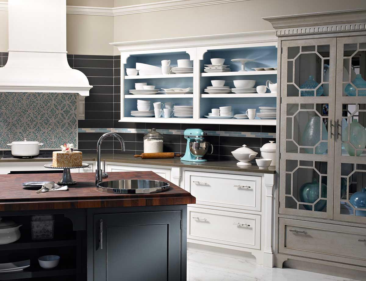 Custom Wood Butcher Block Countertops with Overmount Sinks