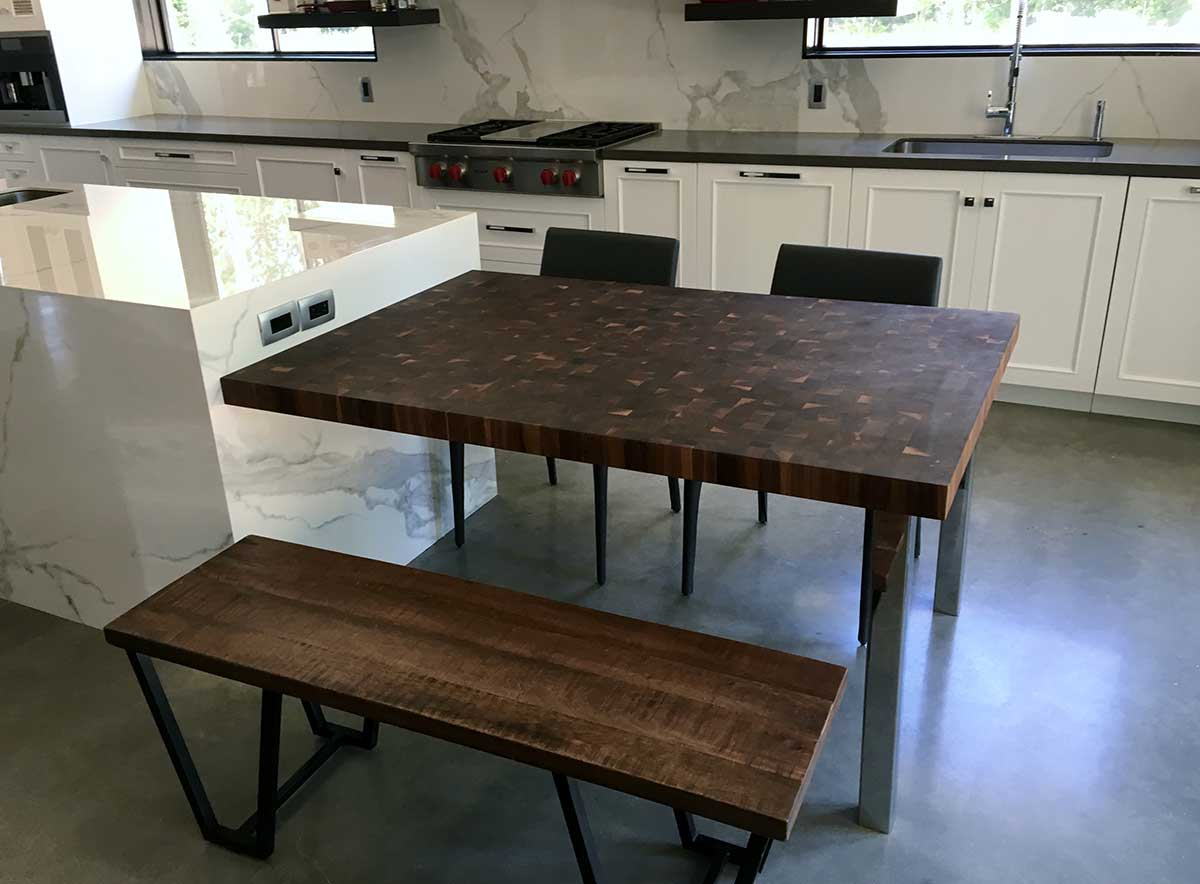 Custom Wood Butcher Block Tables for Kitchens