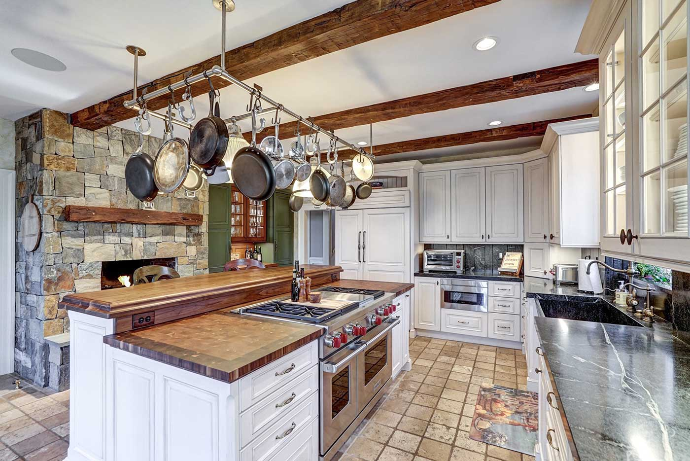 Kitchen Island with Two Butcher Block Countertops