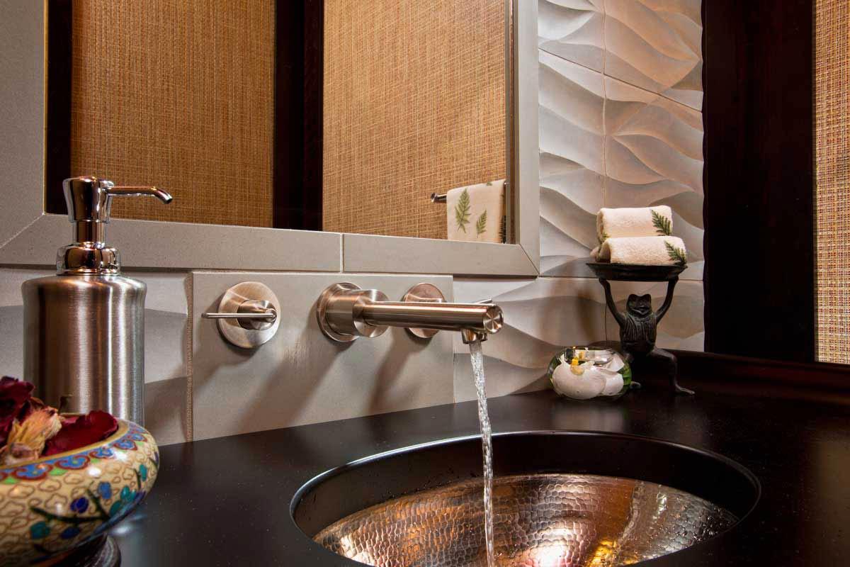Bathroom Sink in a Wood Countertop