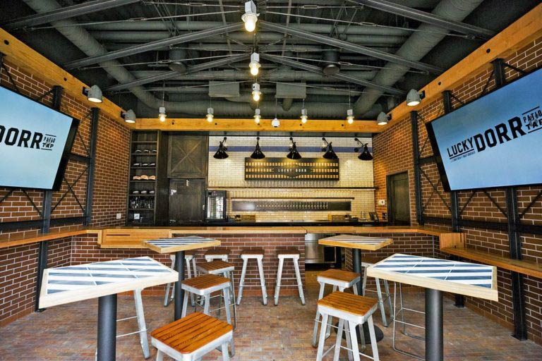 Custom Wood Commercial Bar Tops for Lucky Door Bar at Wrigley Field