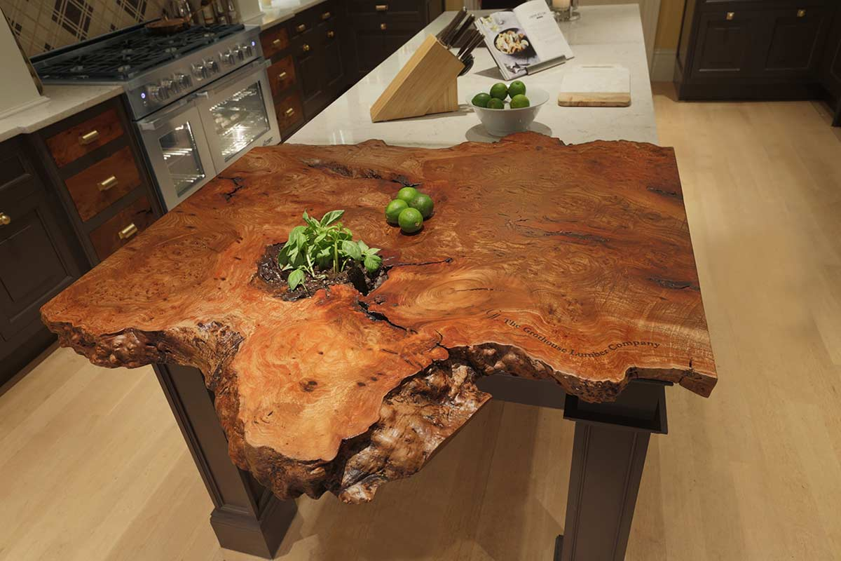 Live Edge Wood Counter for a Kitchen Island