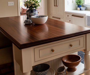 Sapele Mahogany Kitchen Island Counter designed by Darcy Niland