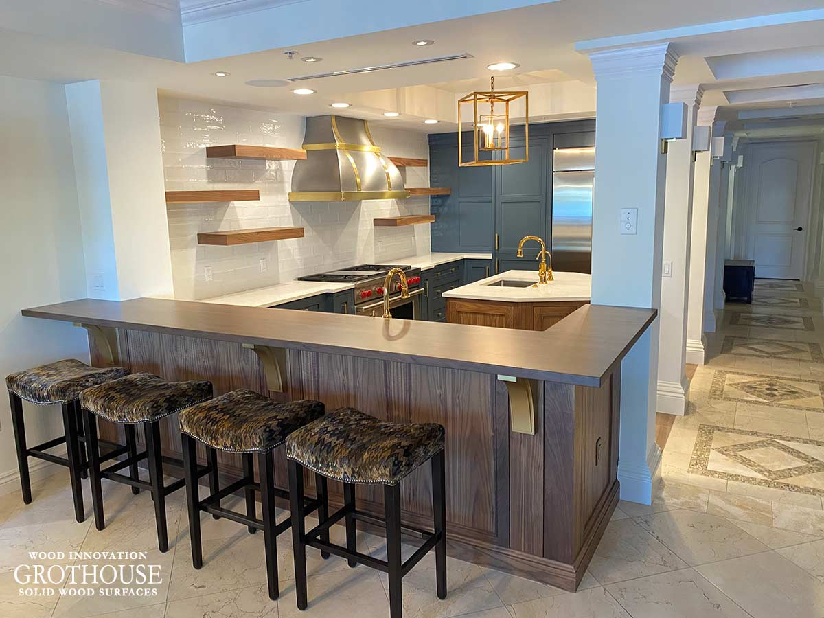 Custom Stained Walnut Kitchen Bar Top in Naples, Florida