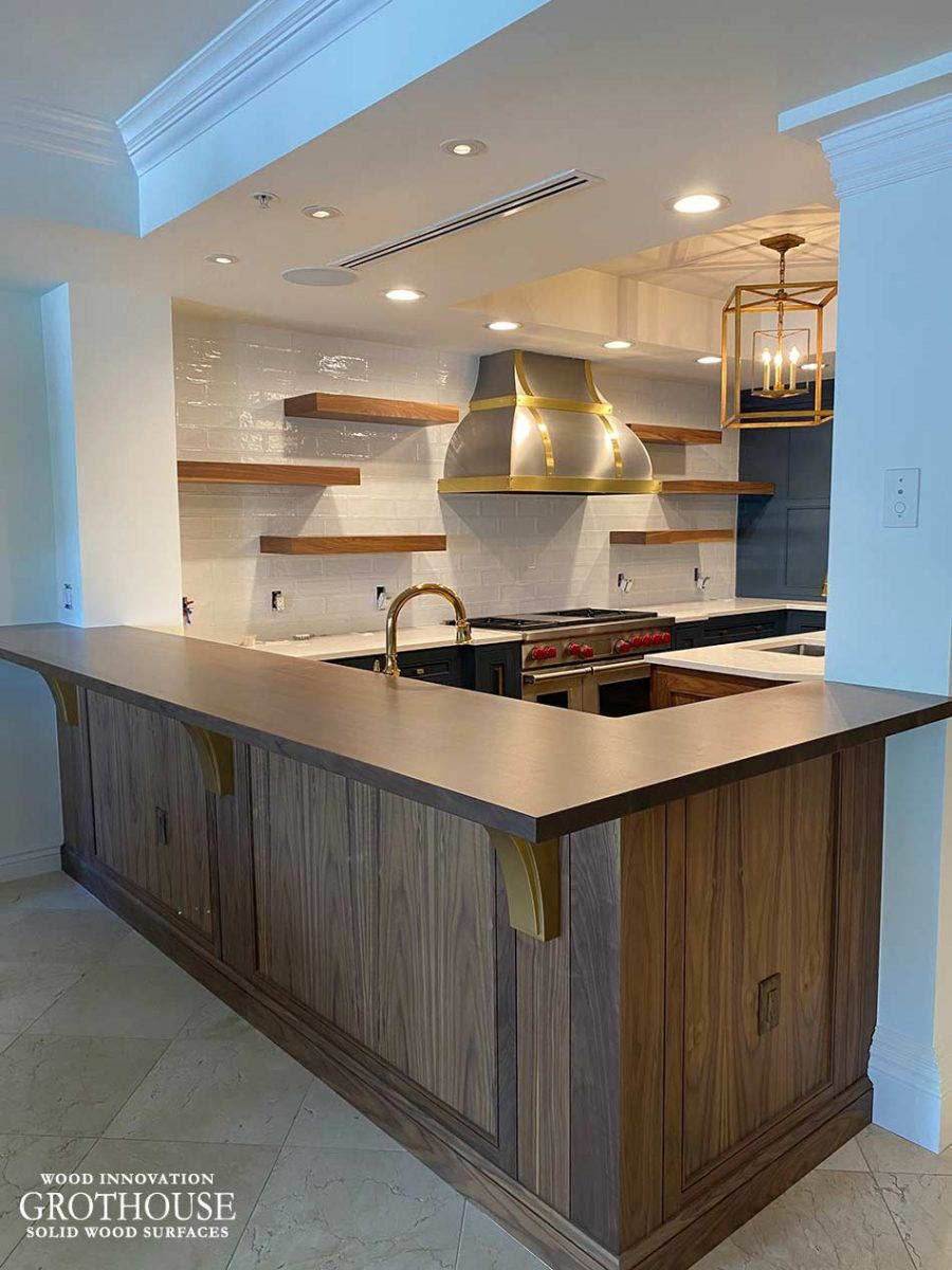 Custom Stained Walnut Wood Bar Top for a Kitchen in Naples, Florida