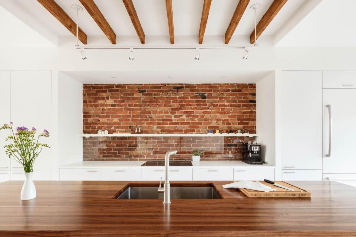 Custom Wood Countertops with Undermount Sinks