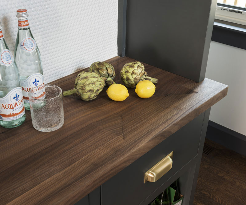 Custom Wood Countertop with an integrated fruit bowl
